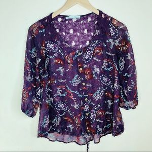 Maurice's Purple Peasant Paisley  Top small